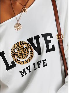 Leopard Figure Print One Shoulder Long Sleeves Casual Blouses