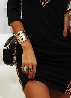 ヒョウ カラーブロック ボディコンドレス 長袖 ミニ カジュアル ファッションドレス