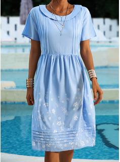 Blomster Print Skiftekjoler Korte ærmer Midi Casual Tunika Mode kjoler