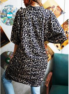leopardo Scollatura a V 1/2 maniche Casuale