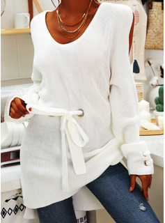 Cold Shoulder Casual Long Solid Chunky knit Sweaters