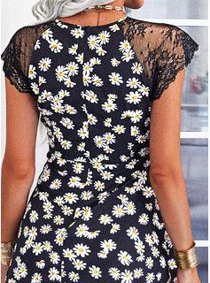Floral Encaje Impresión Vestido línea A Manga de Gorra Mini Casual Patinador Bolero Vestidos de moda