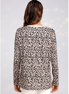 Leopardo Manga larga poliéster Cuello redondo camiseta Blusas