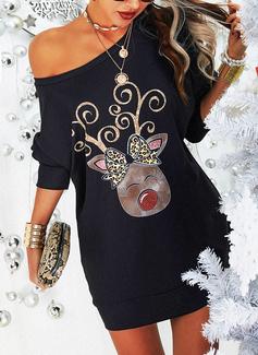 ヒョウ アニマル柄 シフトドレス 長袖 ミニ カジュアル クリスマス トレーナー ファッションドレス