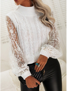 Turtleneck Casual Lace Solid Cable-knit Sweaters