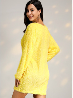 Okrągły Dekolt Poliester Długie rękawy Jednolity Sukienka sweterkowa Modne Suknie