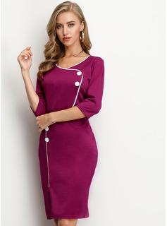 Solid Bodycon 1/2 ærmer Midi Party Casual Elegant Blyant Mode kjoler