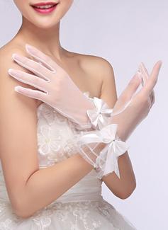 Woal Krótkie eleganckie rękawiczki Rękawiczki Ślubne Z Haftowana
