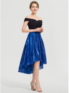 A-Line Asymmetrical Sequined Prom Dresses