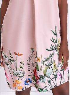 Floral Impresión Vestidos sueltos Manga Corta Mini Casual Vacaciones Túnica Vestidos de moda