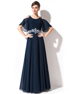 A-Line Scoop Neck Floor-Length Chiffon Mother of the Bride Dress With Lace Beading Sequins Cascading Ruffles