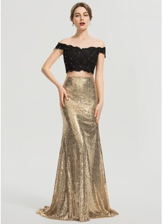 Trumpet/Mermaid Sweep Train Sequined Prom Dresses