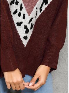 Trozos de color Estampado Animal Punto De Cable poliéster Cuello redondo Suéter Suéteres