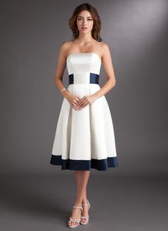 Corte A Sem Alças Coquetel Cetim Vestido de noiva com Cintos Curvado