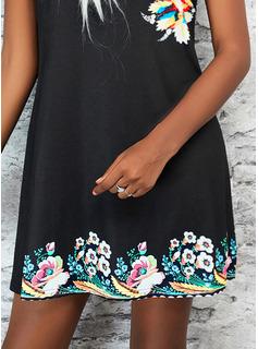 Floral Print Shift Sleeveless Mini Casual Vacation Dresses
