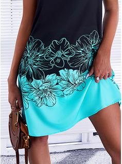 Trozos de color Floral Impresión Vestidos sueltos Sin mangas Mini Casual Vestidos de moda