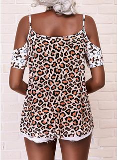 Leopardo Floral Impresión Top Con Hombros Manga Corta Casual Blusas