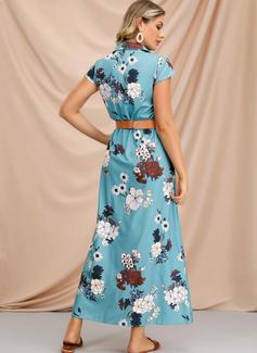 Mieszanki bawełniane Z Przycisk/Wydrukować Maxi Sukienka