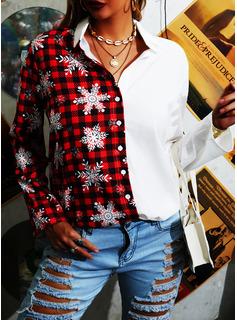 Color Block Print Lapel Long Sleeves Casual Christmas Shirt Blouses