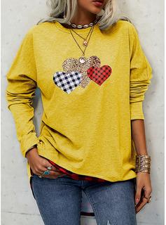 Grid Leopard Hjerte Rund hals Lange ærmer Sweatshirts