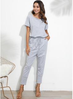 V-Ausschnitt Polyester Einfarbig Kurze Ärmel Einfarbig Modekleider