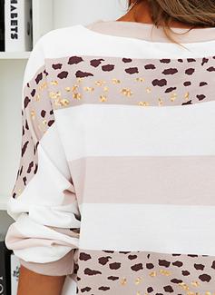 Blocchi di colore leopardo Girocollo Maniche lunghe Felpe