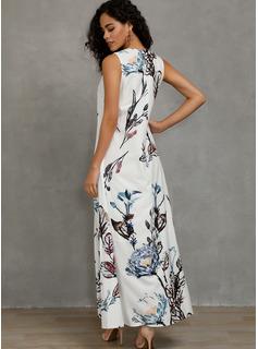 Lino con Impresión Maxi Vestido