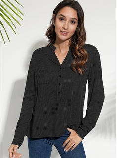 Impresión Manga larga mezcla de algodón poliéster Escote en V Camisas Blusas Blusas