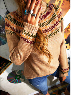 Turtleneck Casual Print Sweaters