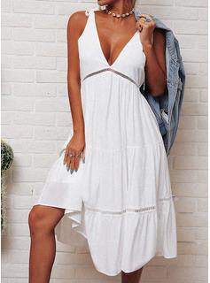 Encaje Sólido Vestido línea A Sin mangas Midi Casual Patinador Vestidos de moda