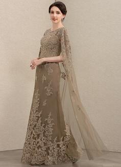 Sheath/Column Scoop Neck Floor-Length Lace Mother of the Bride Dress