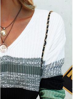 Vネック カジュアル カラーブロック セーター