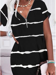 Print Shift Short Sleeves Mini Casual Tunic Dresses