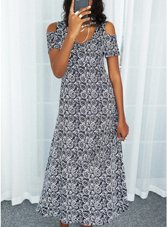 Print A-line Short Sleeves Maxi Casual Skater Dresses