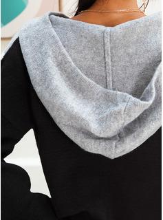 Med hætte Casual Color Block Print Chunky strik Trøjer