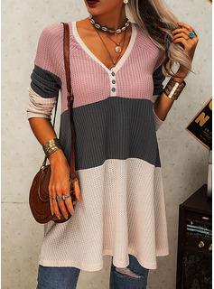 Color Block V-hals Lange ærmer Button-up Casual Skjorter