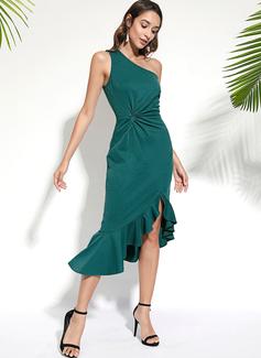 knælange One-Shoulder Polyester Flæsekanter/Solid/Slit Uden Ærmer Mode kjoler