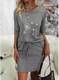 Animal Print Bodycon Long Sleeves Mini Casual Dresses