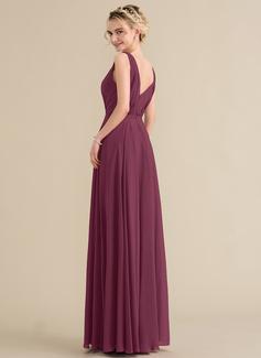A-linjainen/Prinsessa V-kaula-aukko Lattiaa hipova pituus Sifonki Morsiusneitojen mekko jossa Rypytys