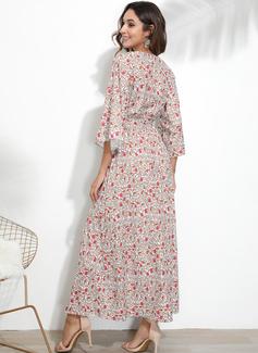 Maksimum V-hals Polyester Print Lange ærmer Mode kjoler