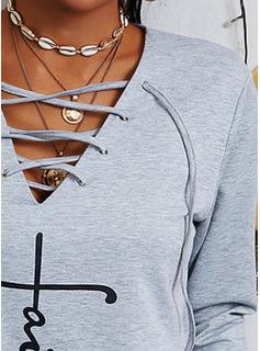 Print Figur V-hals Lange ærmer Sweatshirts