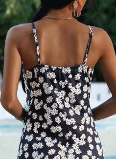 Blumen Druck A-Linien-Kleid Ärmellos Maxi Lässige Kleidung Modekleider