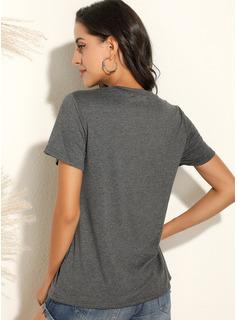 Print Rund hals Korte ærmer Casual T-shirt