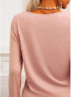 Leopardo Figura Impresión Corazón Cuello Redondo Manga Larga Casual camiseta