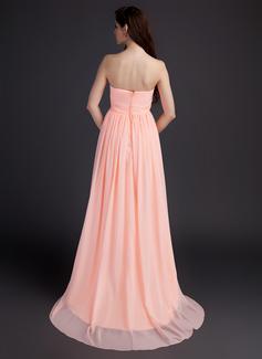 Empire-Linie Schatz Sweep/Pinsel zug Chiffon Brautjungfernkleid Für Schwangere mit Rüschen