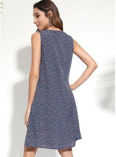 knælange V-hals Polyester Print Uden Ærmer Mode kjoler