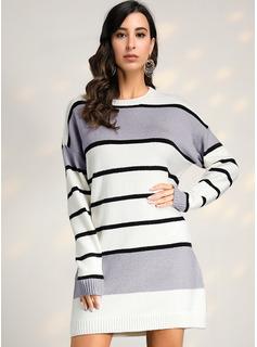 Cuello redondo poliéster Mangas Largas raya/Punto Grueso/Punto De Cable Vestido de Suéter Vestidos de moda