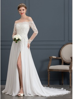 A-Line Off-the-Shoulder Court Train Chiffon Wedding Dress With Beading Sequins Split Front
