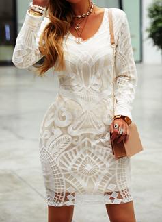 Print Bodycon Long Sleeves Mini Little Black Elegant Dresses
