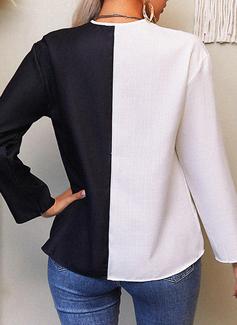 Trozos de color Impresión Cuello en V Manga Larga Casual Blusas